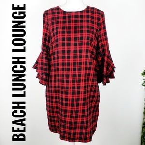 Beach Lunch Lounge Red Plaid Dress Flannel Small
